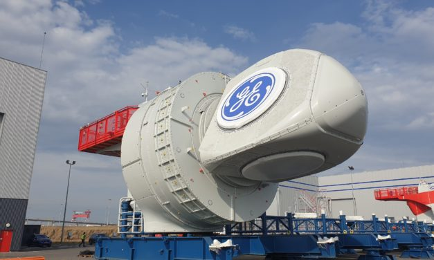 GE Renewable Energy, EDF Renewables and Enbridge are celebrating  the production of the first nacelle for the first French offshore wind farm at Saint-Nazaire