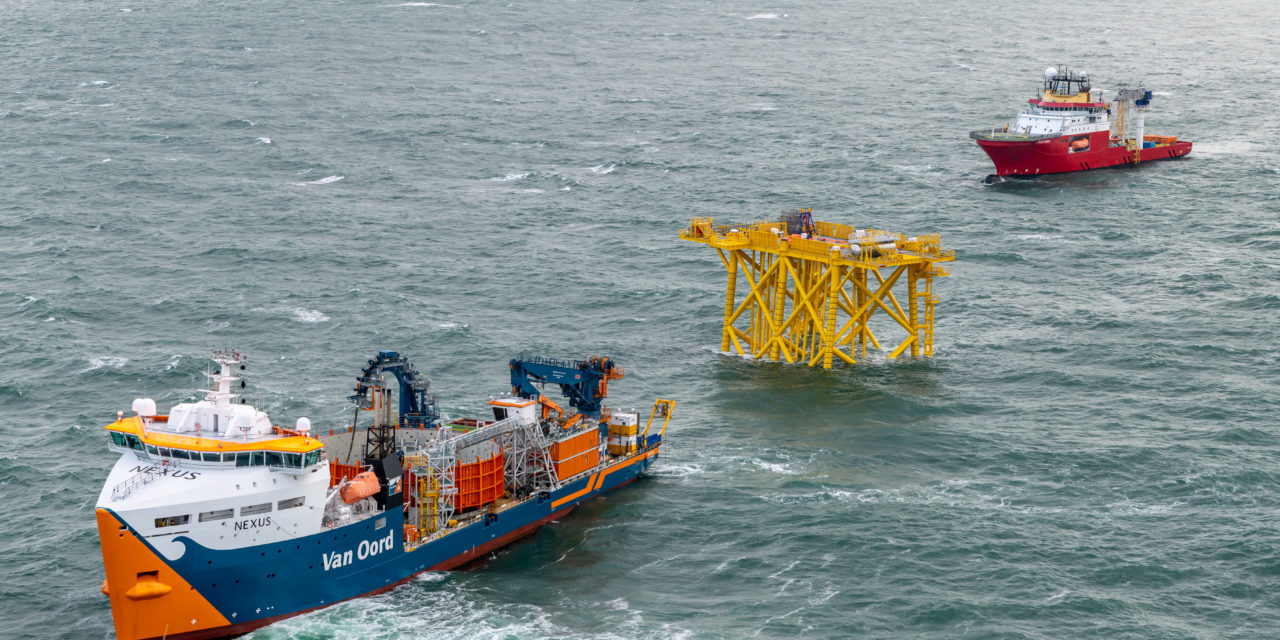 Alpha sea cables Hollandse Kust zuid successfully pulled in at jacket